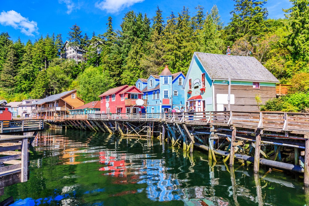 Brightly colored buildings outside in Ketchikan Alaska looking across the water