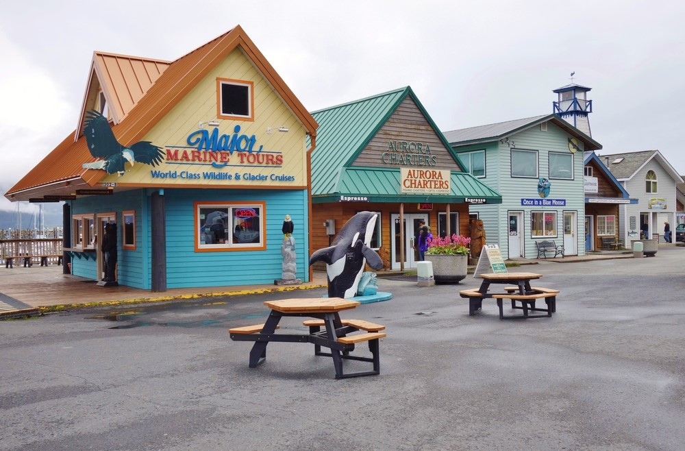 A set of fishing and related stores in Seward Alaska