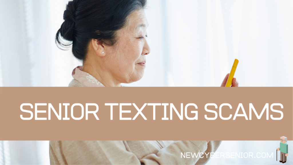 An elderly Asian woman texting on her phone, highlighting the idea of texting scams