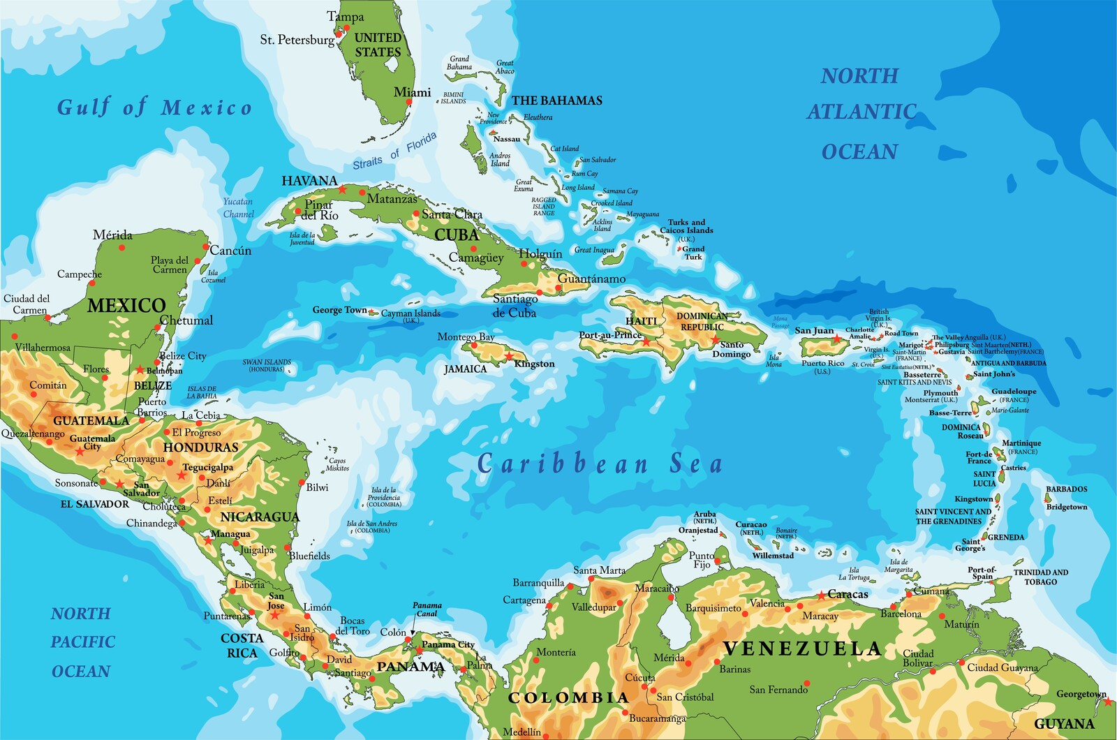 detailed colorful map of central america and caribbean islands